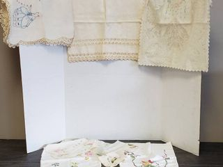 3 Table Runner  Various Styles and Assorted Embroidered linens   some of the linens may have small stains or holes