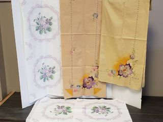 Unfinished Embroidered linens  6 Squares  6 Squares  Connected  Table Scarf and Square Table Cloth