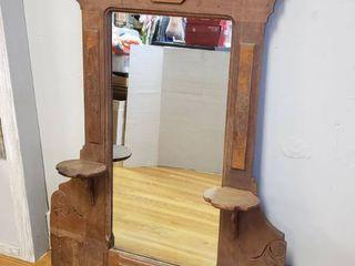 Ornate Antique Mirror w  Shelves 48 in  x 37 in