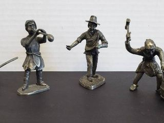 3 KDM Pewter Figurines  Holland  Sower  Glass Blower   Barrel Maker and Pewter lidded Pot  England