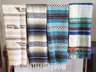 4 Blankets  1 Acrylic  2 Cotton and 1 Wool  stained    Stripe Designs