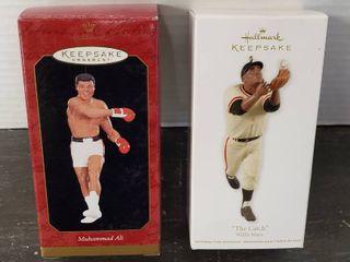 2 Hallmark Keepsake Ornaments  Muhammad Ali   Willie Mays