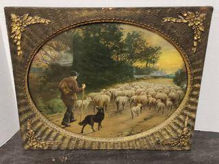 Vintage Shepherd Print w Vintage Frame w  Oval Opening   22 x 18 in  tall