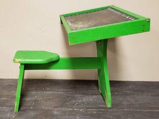 Vintage Wood Playskool Kids Desk   19 x 24 x 22 in  tall   slight damage on seat   see pix