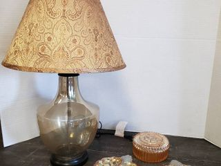 3 Carnival Dishes  one is Rose Iridescent Vanity Powder dish  and Glass Bottom lamp  24 in  tall    Works