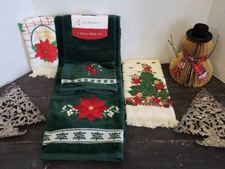 Christmas Towels  2 Silver plated Tree Trivet and Snowman Decor