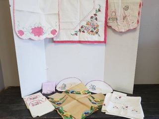Embroidered Table linens and Pair of Pillowcases