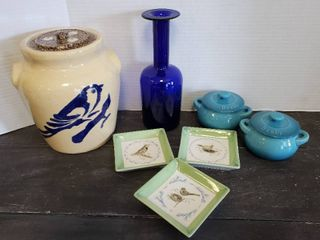 Bluebird Crock Cookie Jar  Bird Oil Dipping Dishes  2 Denby Mini Bean Pots and Blue Vase