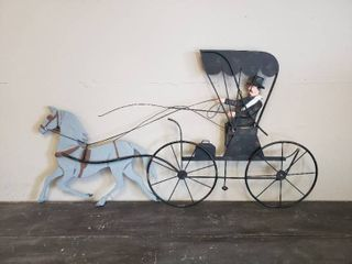 large Metal Wall Hanging   Horse and Buggy