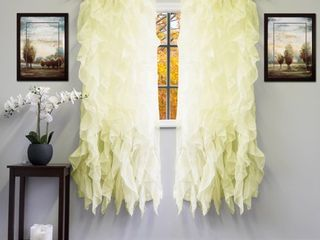Voile 50 x 63 Vertical Ruffle Tier Window Curtain Panel   50 x 63