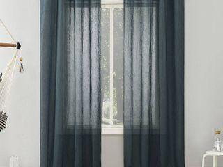 51 x84  Erica Crushed Sheer Voile Grommet Top Curtain Panel Teal   No  918