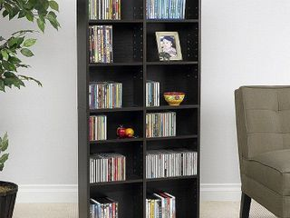 Atlantic 54 x25  Oskar 464 Adjustable Shelf Wood Media Storage Wall Bookcase  464 CDs  228 DVDs  276 BluRays  Espresso