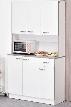 HomCom Freestanding Kitchen Buffet with Hutch  white  BOX 1 OF 2