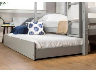 Walker Edison Solid Wood Twin Trundle Bed in Grey  Trundle Only