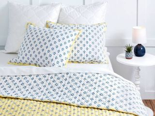 King 3pc Naomi Block Print Quilt Set Yellow   Martha Stewart