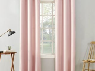 63 x40  Sora Casual Textured light Filtering Grommet Top Curtain Panel Pink   No  918  Set of 2