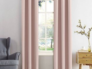 84 x40  Kenneth Energy Saving Blackout Grommet Top Curtain Panel Pink   Sun Zero  Set of 2