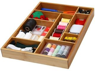 YBM HOME Bamboo Drawer Organizer with 9 Compartment Organization Tray