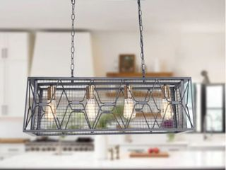 Rectangular Industrial Kitchen Island lighting  4 light Farmhouse Hanging Ceiling light Fixture
