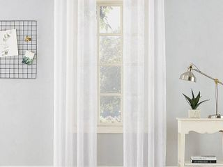 84 x51  Erica Crushed Sheer Voile Grommet Curtain Panel White   No  918
