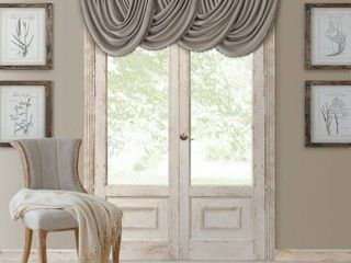 Elrene All Seasons Faux Silk 52  x 36  Blackout Waterfall Valance