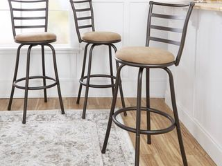 Mainstays Adjustable Height Swivel Barstool  Hammered Bronze Finish  Set of 3