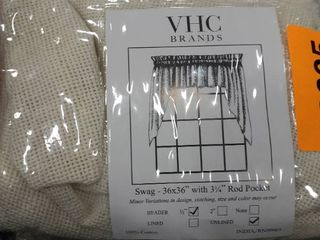 Vhc Farmhouse Swag Pair Kitchen Curtains Rod Pocket Burlap Antique White Cotton
