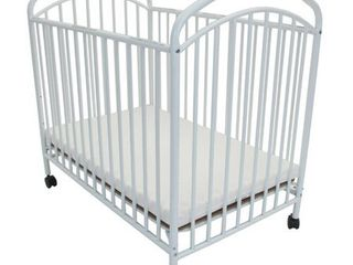 l A  Baby Classic Arched Portable Mini Crib with Mattress White