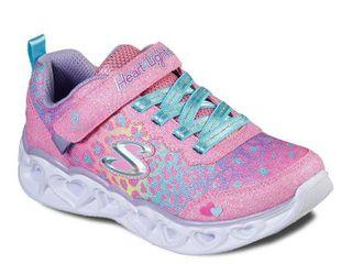 Skechers S lights Heart lights Girls  light Up Shoes  Girl s  Size  13  Orange
