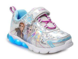 Disney s Frozen 2 Anna   Elsa Toddler Girls  light Up Shoes  Size 11t  Silver