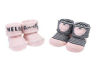 Baby Girl Carter s 2pk Hello lovely Heart Keepsake Booties  Size Newborn  Pink Heart