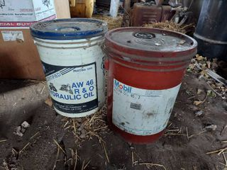 2 Buckets of Oil   Both Full   Blue lid Appears Unopened  Other One Unsure