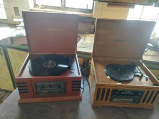 2 Radios with Record Player  CD Player and Cassette   Crosley and Detrola   Vintage looking