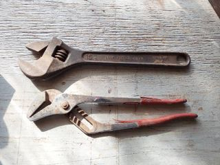 15  Adjustable Wrench and large Slip Joint Pliers