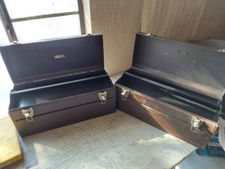 2 Metal Toolboxes with Tray