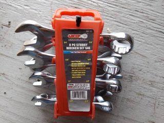 8 Pc Stubby Wrench Set   SAE