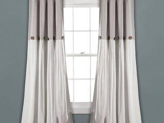 linen Button light Filtering Window Curtain Panel Pair Gray White   lush DAccor