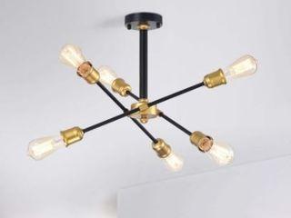 lorena 6 light Sputnik Black and Gold Chandelier  Retail 77 98