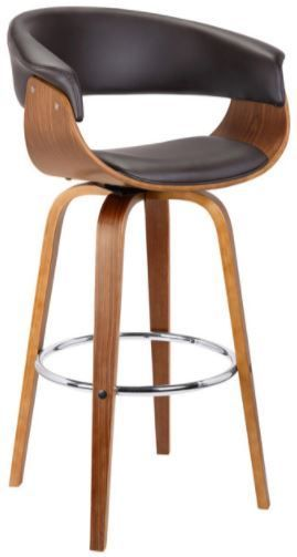 Mid Century Faux leather Wood Swivel Counter Stool