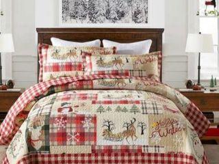 Plaid Patchwork Christmas King Quilt Bedspread Set