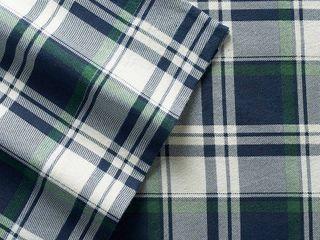 Winter Nights Cotton Flannel Sheet Set  King  Plaid Navy   Elite Home