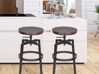 FurnitureR Amat Walnut Adjustable Height Swivel Bar Stool  Set Of 2