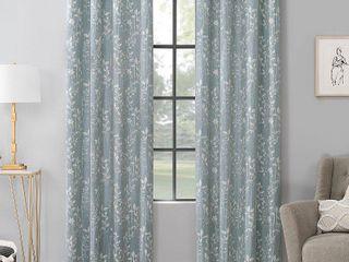lotus Botanical Cotton Blend Semi Sheer Grommet Curtain Panel Pair Blue   Scott living
