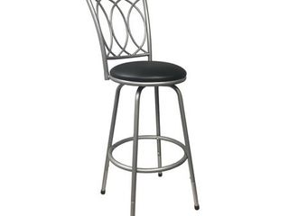 Roundhill Furniture Redico Counter to Bar Height Adjustable 360 Degree Swivel Metal Bar Stool  Powder Coated Silver