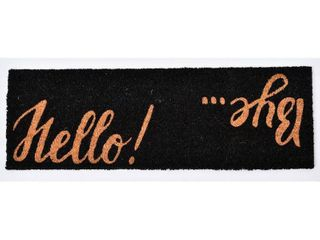 Evideco Sheltered Printed Hello Bye Coir Coco Fiber Doormat