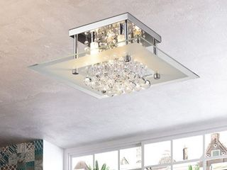 lucia Square Chrome and Crystal Flush Mount 4 light Chandelier  Retail 125 99