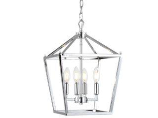 Pagoda 12  4 Bulb lantern Metal lED Pendant  Chrome by JONATHAN Y