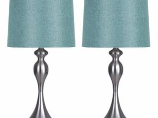 Grandview Gallery 27  Curvy Modern Metal Table lamp Set with Tapered Drum Shades  Set of 2  Retail 99 99