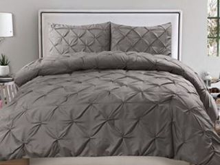 Sweet Home Collection 3 Piece luxury Pinch Pleat Pintuck Fashion Duvet Set  King