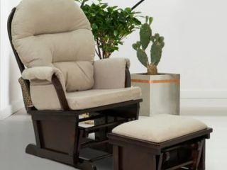 HomCom Glider Rocking Chair With Beige Cushion